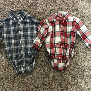 One Pieces - 2 Button Plaid Long Sleeve Onesies